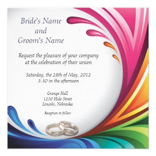 Rainbow Wedding Invitation is amazing invitations sample