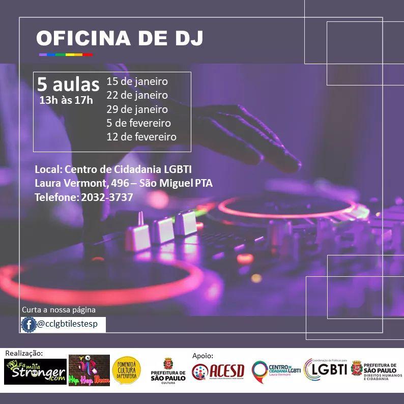 TRANSEMPREGOS DIVULGA:  Oportunidade! Oficina de DJ GRATIS em SÃO PAULO