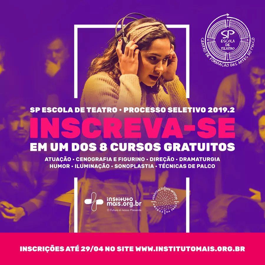 TRANSEMPREGOS DIVULGA:#ProcessoSeletivo | Ainda dá tempo fazer sua inscrição no Processo Seletivo para as turmas do segundo semestre de 2019 da SP Escola de Teatro, um dos maiores centros de formação em artes cênicas da América Latina.