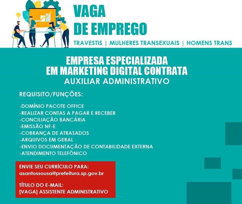 Empresa especializada em marketing digital contrata auxiliar administrativo