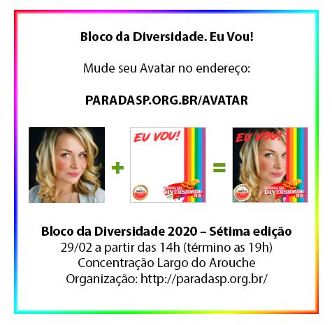"""Campanha Digital: Pegue seu AVATAR """" Bloco da Diversidade! Eu Vou!"""""""