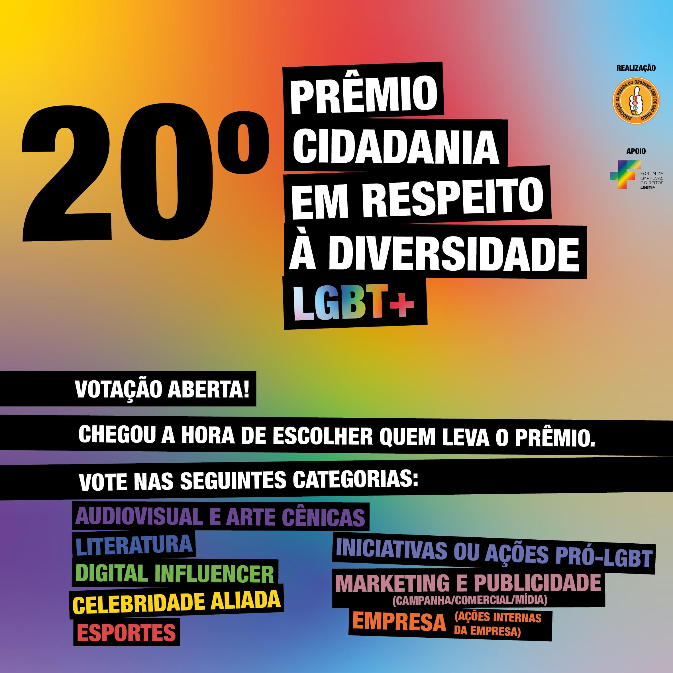 Começa a votação para o 20º Prêmio Cidadania em Respeito à Diversidade LGBT+